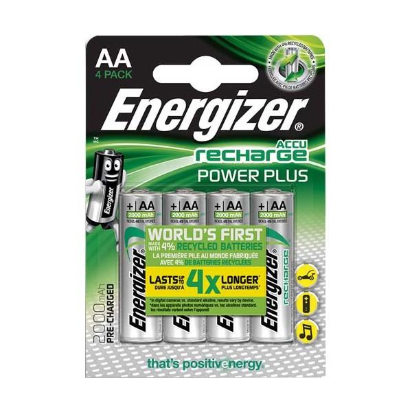 ENERGIZER Blister de 4 piles AA LR6 Power plus rechargeable 2000 mAh