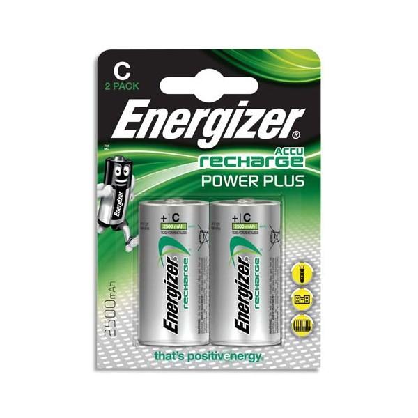 ENERGIZER Blister de 2 piles C LR14 Power plus rechargeable 2500 mAh