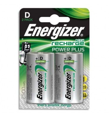 ENERGIZER Blister de 2 piles D LR20 Power plus recheargeable 2500 mAh