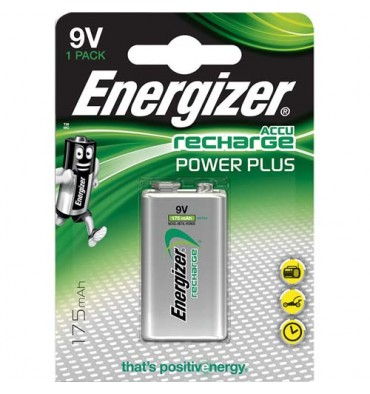 ENERGIZER Blister de 1 pile 9V 6LR61 Power plus recheargeable 175 mAh