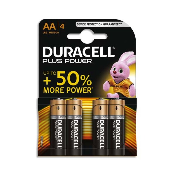 DURACELL Blister de 4 Piles Alcaline 1,5V AA LR6 Plus Power (photo)
