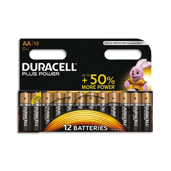 DURACELL Blister de 12 Piles Alcaline 1,5V AA LR6 Plus Power (photo)