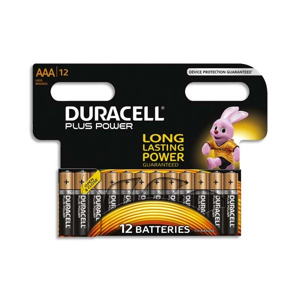 DURACELL Blister de 12 Piles Alcaline 1,5V AAA LR3 Plus Power (photo)
