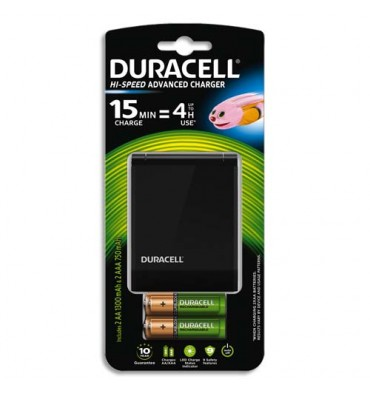 DURACELL Chargeur Speedy 15 min CEF27 avec 2 accus AA 1300 mAh et 2 accus AAA 750 mAh