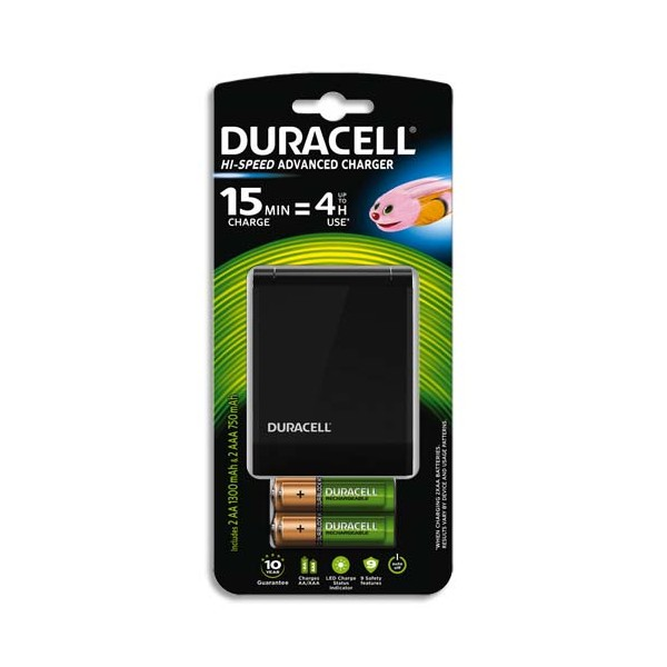 DURACELL Chargeur Speedy 15 min CEF27 avec 2 accus AA 1300 mAh et 2 accus AAA 750 mAh (photo)