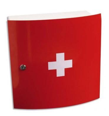 LABORATOIRES ESCULAPE armoire à pharmacie à 1 porte, design. Coloris rouge L32 x H32 x P15 cm