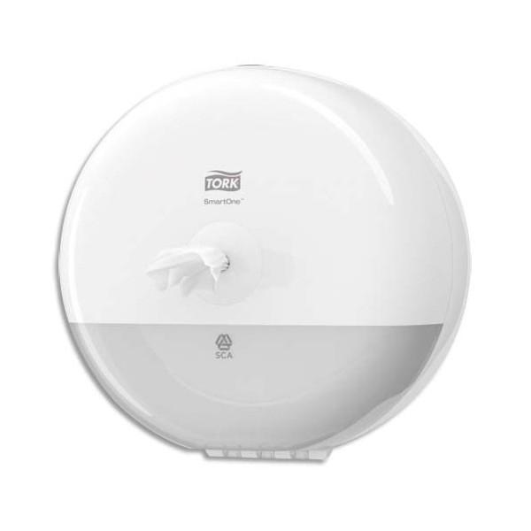 TORK Mini Distributeur papier toilette en rouleau SmartOne blanc ABS - Diamètre 21,9 cm, hauteur 15,6 cm