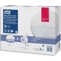 TORK Pack T2 Starter Distributeur de papier toilette + recharge Premium Mini Jumbo 170 m doux blanc