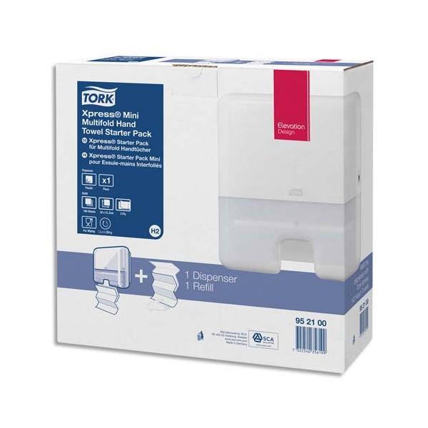 TORK Pack H2 Xpress Starter Distributeur essuie-mains Mini + recharge interfoliés doux Advanced 2 plis Z