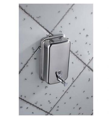 HYGIENE Distributeur de savon en inox brossé capacité 1L, fermeture à clé - 10,5 x 20,5 x 11,5 cm