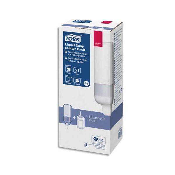 TORK Pack S1 Starter Distributeur de savon + recharge d'1 litre de savon liquide doux parfumé