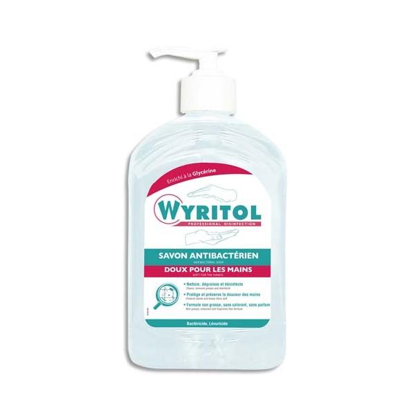 WYRITOL Flacon pompe 500 ml Savon liquide antibactérien désinfectant doux pour les mains sans parfum