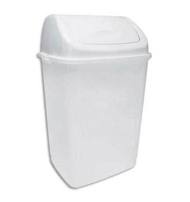 ROSSIGNOL Poubelle à couvercle basculant blanche en polypropylène capacité 18L - 28,5 x 45,5 x 23,5 cm