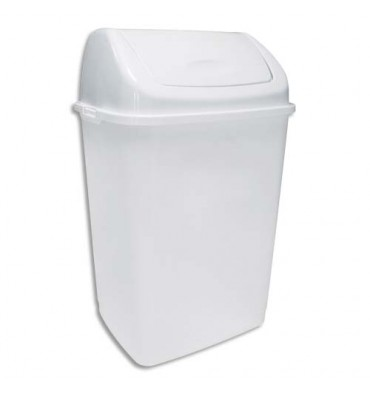 ROSSIGNOL Poubelle à couvercle basculant blanche en polypropylène capacité 35L - 36 x 56 x 29,4 cm
