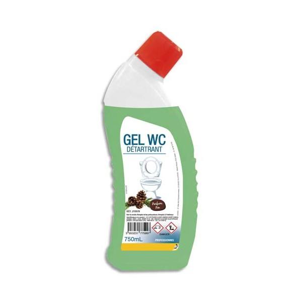 HYGIENE Flacon de 750 ml Gel vert détartrant WC, nettoie détartre et désodorise parfum pin