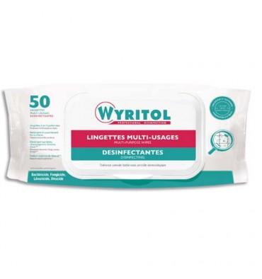 WYRITOL Paquet de 50 Lingettes Désinfectantes multi-usages à l'essence de Niaouli - 20 x 18 cm