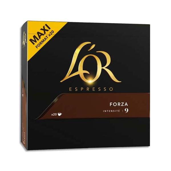 L'OR Boîte de 20 dosettes de 104g de café moulu corsé 100% Arabica Espresso Forza n°9