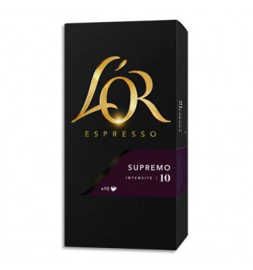 L'OR Boîte de 10 dosettes de 52g de café moulu Espresso Supremo n°10