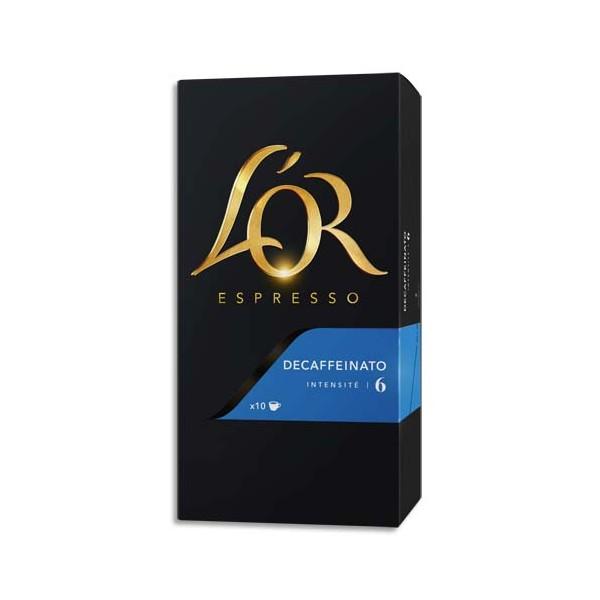 L'OR Boîte de 10 dosettes de 52g de café moulu Espresso Decaffeinato n°6 (photo)