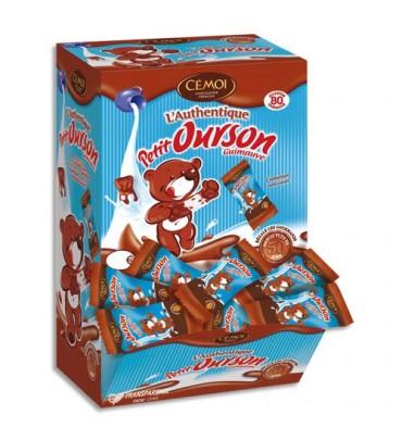 CEMOI Boîte de 80 Petits Oursons guimauve enrobée de chocolat au lait emballés individuellement
