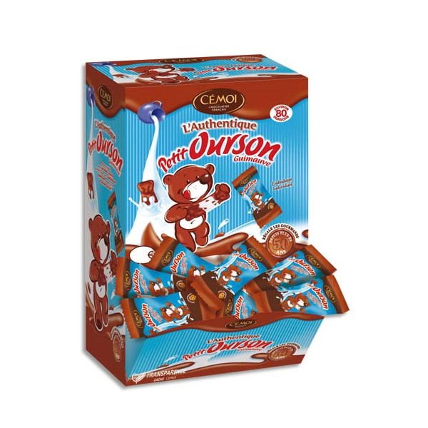 CEMOI Boîte de 80 Petits Oursons guimauve enrobée de chocolat au lait emballés individuellement (photo)