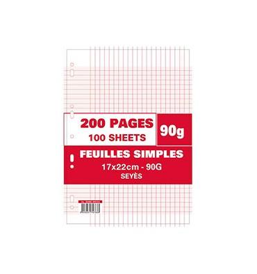 NEUTRE Sachet 200 pages feuillets mobiles 90g Seyès 17 x 22 cm. Perforation pour classeur