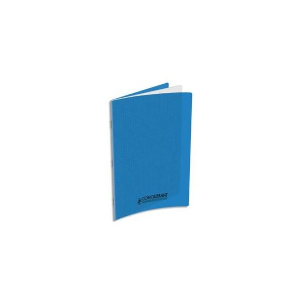 CONQUERANT Cahier A4, 48 pages, 90g, Seyès, couverture polypropylène bleue