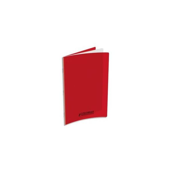 CONQUERANT Cahier A4, 48 pages, 90g, Seyès, couverture polypropylène rouge