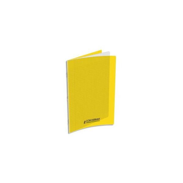 CONQUERANT Cahier A4, 48 pages, 90g, Seyès, couverture polypropylène jaune