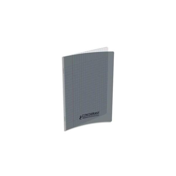 CONQUERANT CLASSIQUE Cahier piqûre 17 x 22 cm 48 pages grands carreaux 90g. Couverture polypropylène gris