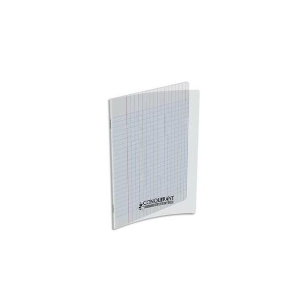 CONQUERANT CLASSIQUE Cahier piqûre 17 x 22 cm 48 pages grands carreaux 90g. Couverture polypro incolore