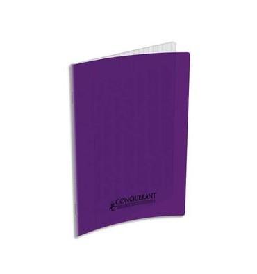CONQUERANT CLASSIQUE Cahier piqûre 17 x 22 cm 48 pages grands carreaux 90g. Couverture polypropylène violet