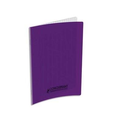 CONQUERANT CLASSIQUE Cahier piqûre 17 x 22 cm 32 pages grands carreaux 90g. Couverture polypro violet