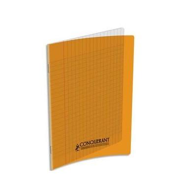 CONQUERANT CLASSIQUE Cahier piqûre 17 x 22 cm 32 pages grands carreaux 90g. Couverture polypro orange