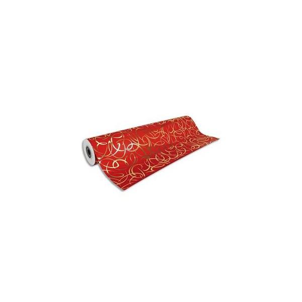 CLAIREFONTAINE Rouleau de papier cadeau Premium 80g. Spécial commerçant : 50 m x 0,7 mm. Rouge arabesque or (photo)