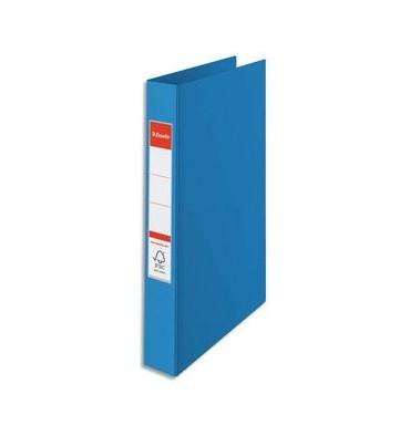 ESSELTE Classeur 4 anneaux en carton recouvert de polypropylène, dos 4 cm intérieur et extérieur bleu