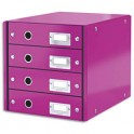 LEITZ Module de classement 4 tiroirs WOW en carton recouvert de polypropylène. Coloris violet