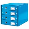LEITZ Module de classement 4 tiroirs WOW en carton recouvert de polypropylène. Coloris bleu