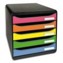 EXACOMPTA Module de classement Big Box Plus 5 tiroirs Noir / Arlequin