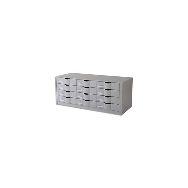 PAPERFLOW Bloc classeur à 12 tiroirs pour documents 24 x 32 cm - 81,3 x 32,9 x 34,2 cm gris