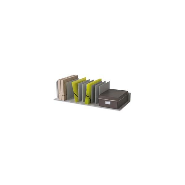 PAPERFLOW Trieur avec 10 séparateurs amovibles/crémaillères au pas 2,5 cm - 92 x 21 x 27,5 cm gris