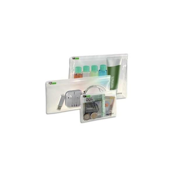 LEITZ Sachet de 3 pochettes enveloppes à zip Traveller PVC 2/10ème, format XS / S / M, coloris transparent