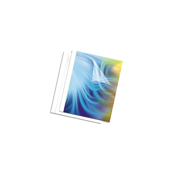 FELLOWES Pack de 100 couvertures thermiques blanches 6 mm, A4, 150 microns 200g