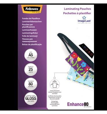 FELLOWES Boîte de 25 pochettes de plastification format A5 80 microns