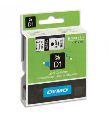 DYMO Ruban D1 Noir / Blanc 6 mm x 7 m - 43613