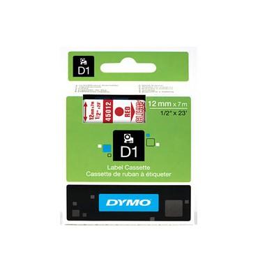 DYMO Ruban D1 Rouge / Transparent 12 mm x 7 m - 45012