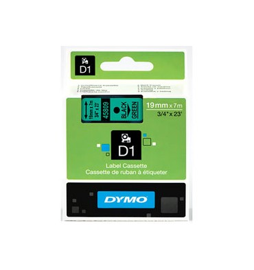DYMO Ruban D1 Noir / Vert 19 mm x 7 m - 45809