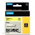 DYMO Ruban RHINO Vinyle flexible et résistant Noir / Jaune 12 mm x 5,5 m - 18432