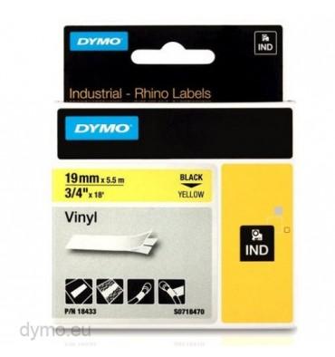 DYMO Ruban RHINO Vinyle flexible et résistant Noir / Jaune 19 mm x 5,5 m - 18433