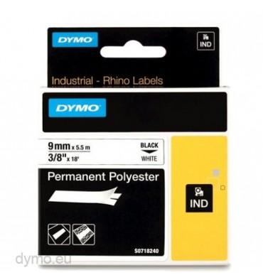 DYMO Ruban RHINO polyester permanent adhésif ultra résistant Noir / Blanc 9 mm x 5,5 m - 18482